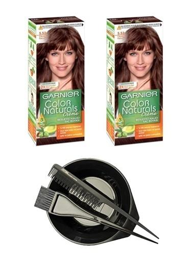 Garnier Garnier 2 Adet Color Naturals Saç Boyası 5.52 + Saç Boyama Seti Renksiz